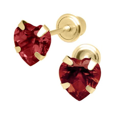 Jewelry 14K Yellow Gold 4mm Cubic Zirconia Heart January Birthstone Stud Screwback Earrings - image 1 of 1