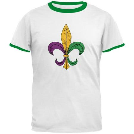 Mardi Gras Fleur De Lis Distressed Mens Ringer T Shirt