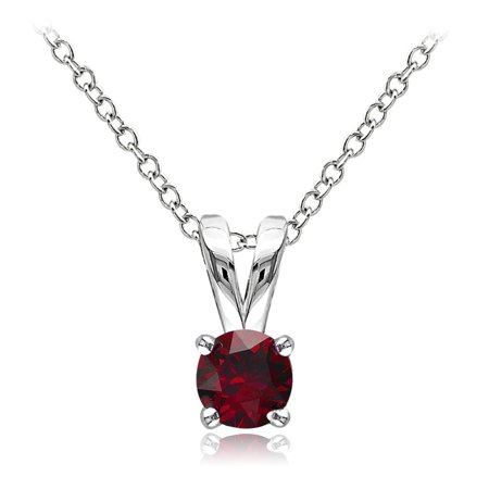 Created Ruby Solitaire (Sterling Silver Created Ruby 5mm Round Solitaire)
