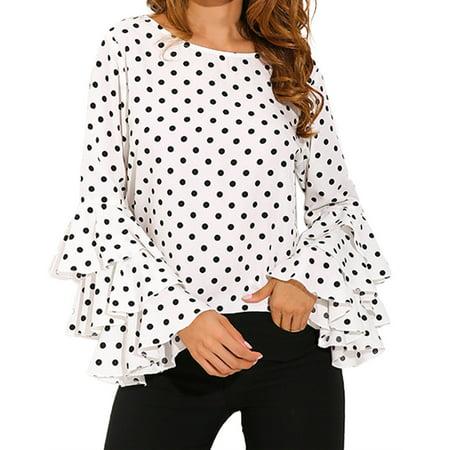 Sage Polka Dot (Womens Flouncing Sleeve Ruffled Polka Dot Loose Tops Blouse)