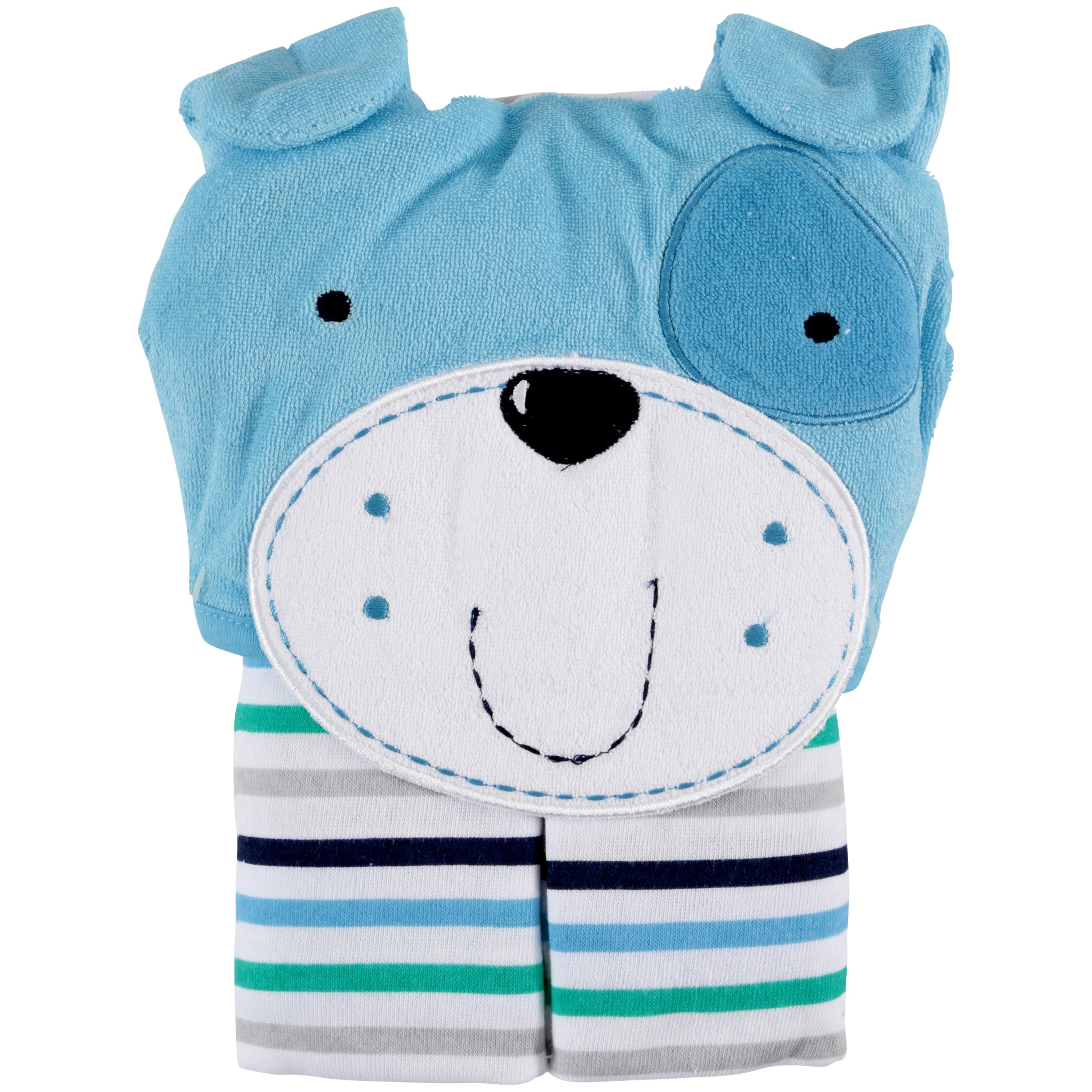 Newborn Baby Boy Terry Hooded Bath Wrap with 3D Applique