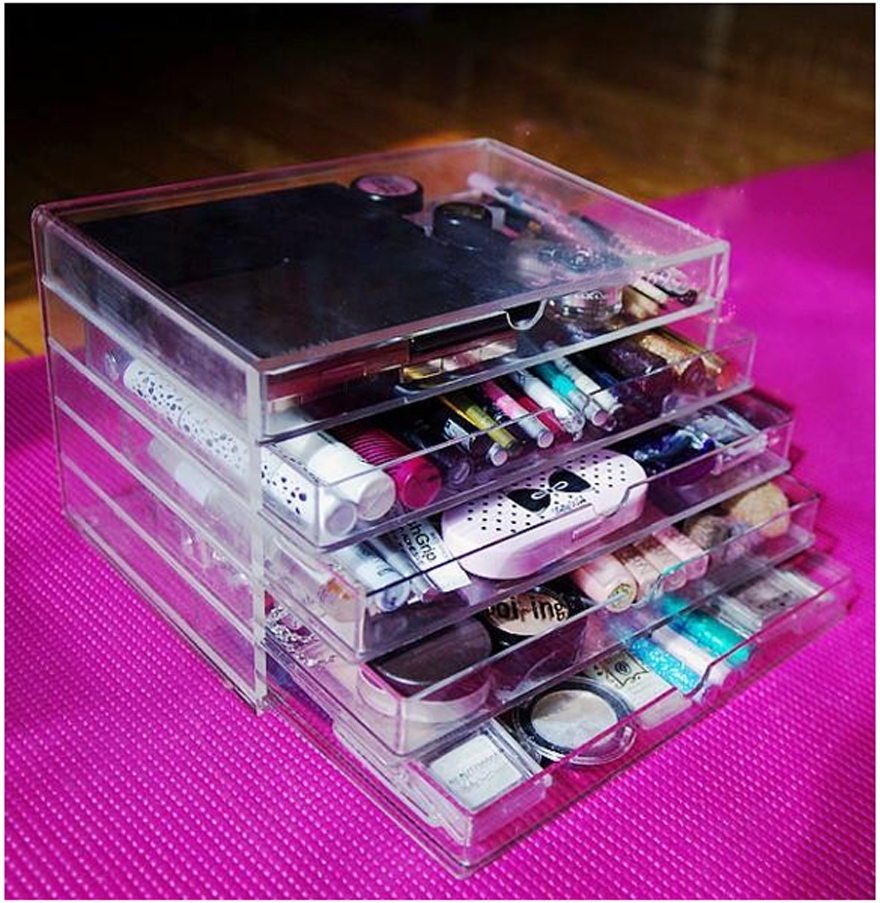 Acrylic Makeup Cosmetic Jewelry Organizer 5 Drawer Clear ...