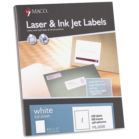 MACO White Laser/Ink Jet Full Sheet Label