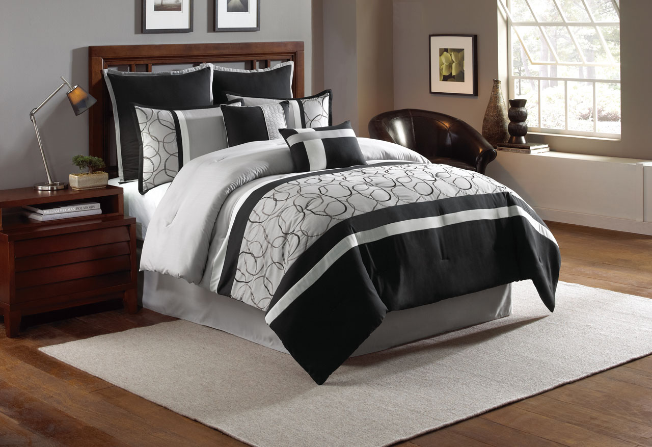 8 piece blakely black gray comforter set walmart com