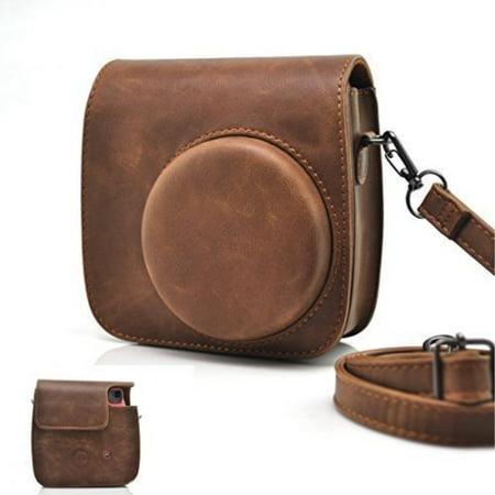 HelloHelio Classic Vintage PU Leather Compact Case with Strap for Fujifilm Instax Mini 9/8/8+ Instant Film Camera -