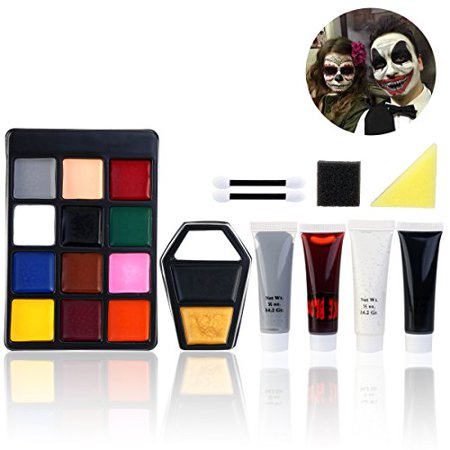 Halloween Face Paint Ideas Zombie (PBPBOX Halloween Makeup Face Paint Kit for Zombie)