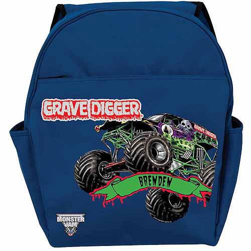 Personalized Monster Jam Grave Digger Blue Backpack