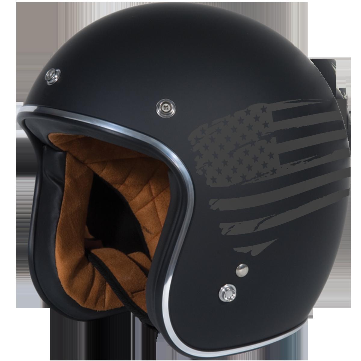 Torc T-50 Open Face Helmet Flag Flat Black X-Small