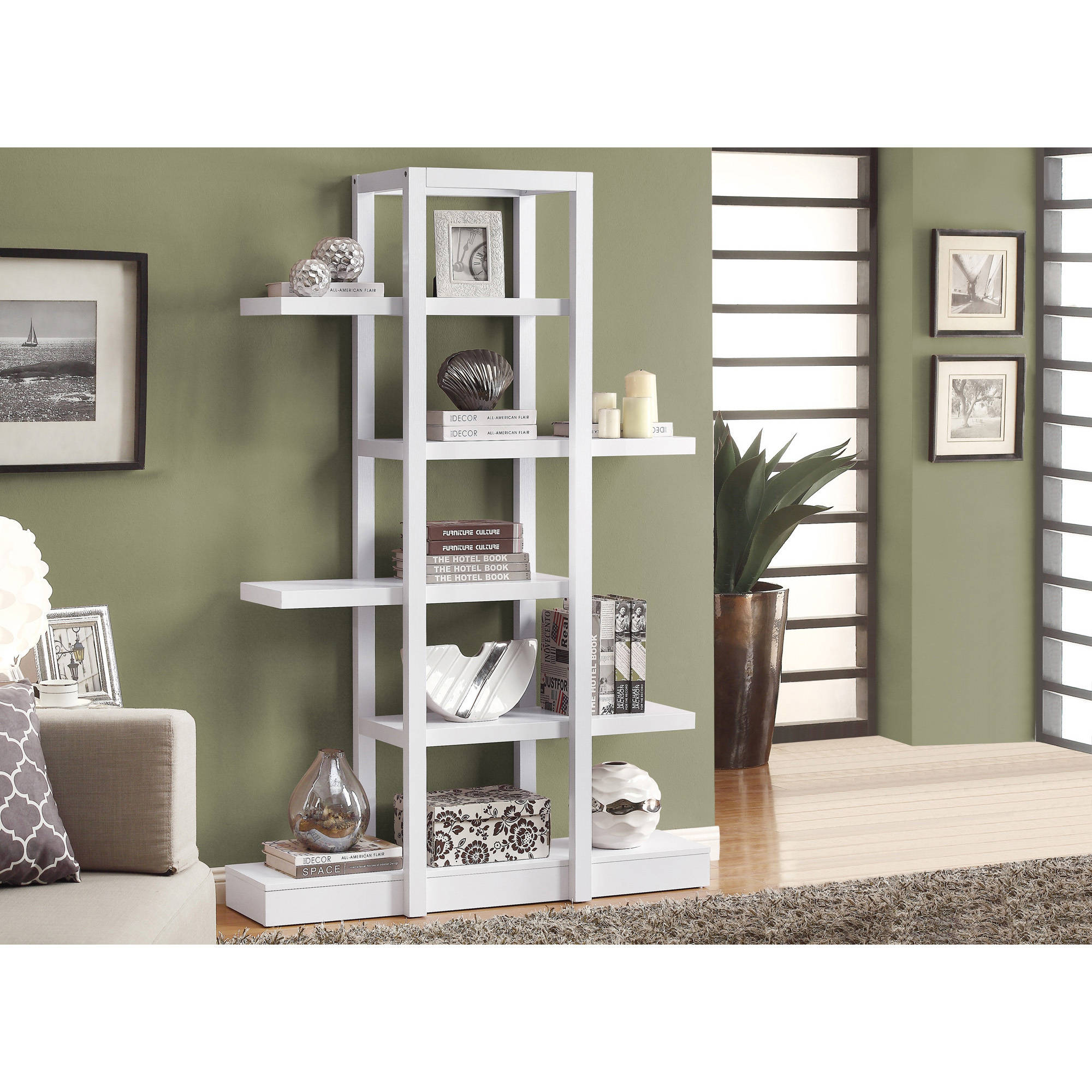 monarch bookcase 71 h cappuccino open concept display etagere