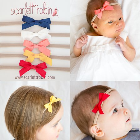 Scarlett Robin - 5 Ribbon Bows on Nylon Headbands Multi-packs for Baby and  Girls.  Scarlett Robin Brand  (ribbon