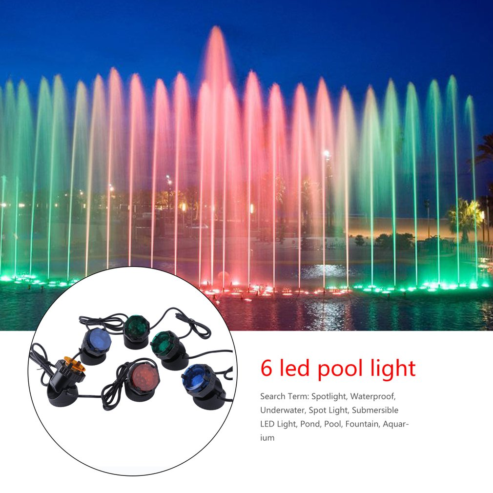 Waterproof Submersible RGB LED Pond Spot Lights For Underwater Pool Fountain Aquarium Spotlights With 4 Colors... by