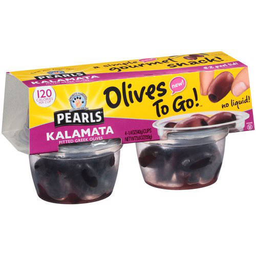 Musco Family Olive Co. Pearls Olives to Go! Kalamata Pitted Greek Olives, 1.6 oz, 4 ct