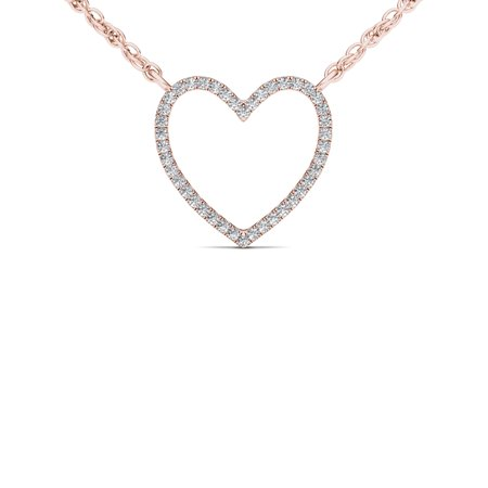 Gold Colored Diamond Pendants (1/10Ct TDW Diamond 10K Rose Gold Heart Necklace )