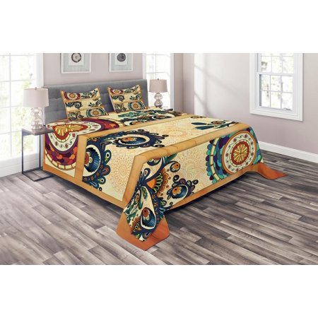 Batik Coverlet Set, Oriental Vintage Paisley Batik Pattern with Eastern Motifs in Flat Boho Art Design, Decorative Quilted Bedspread Set with Pillow Shams Included, Multicolor, by Ambesonne Double Sided Quilted Batik