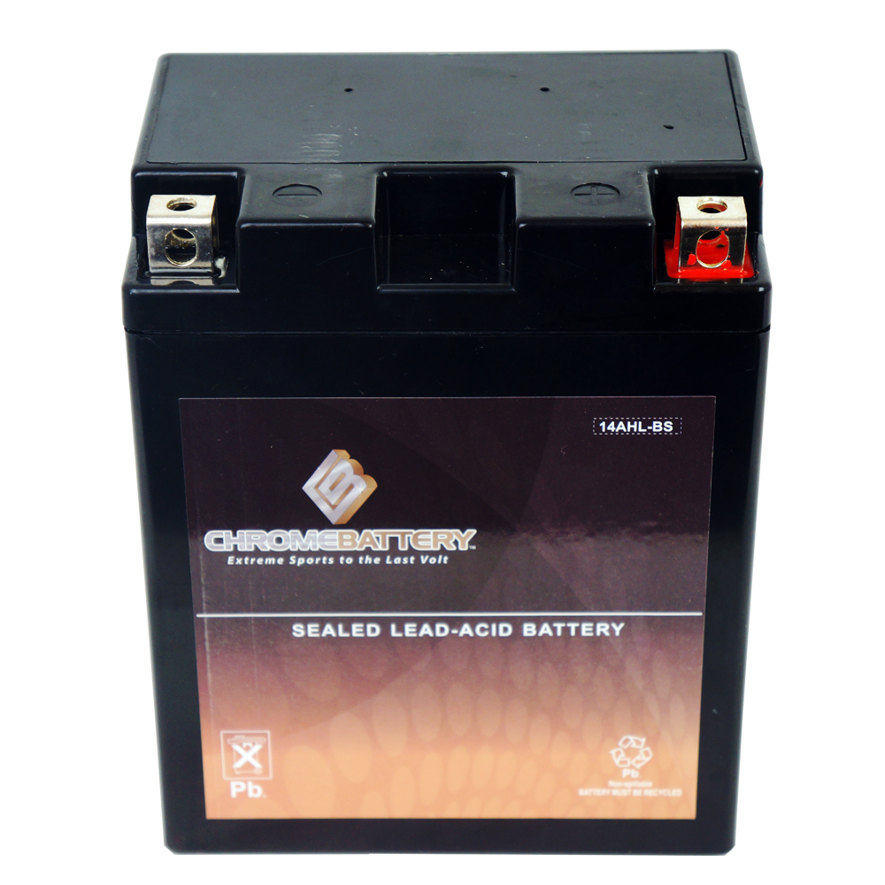 Chrome Battery M00031-10000 YTX14AHL-BS High Performance Maintenance Free Sealed AGM Motorcycle Battery