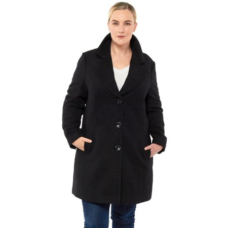 Alpine Swiss Womens Plus Size Wool Overcoat Walking Coat Blazer Pea Coat Jacket