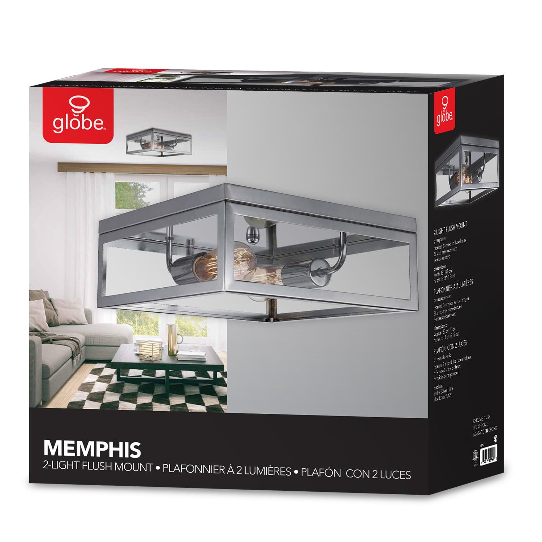 Globe Electric Watt Memphis 2 Light Chrome Flush Mount Ceiling Light