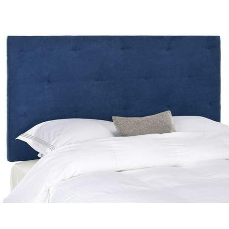 new style 675dc 4793e Safavieh Martin Navy Blue Velvet Upholstered Tufted Headboard Queen
