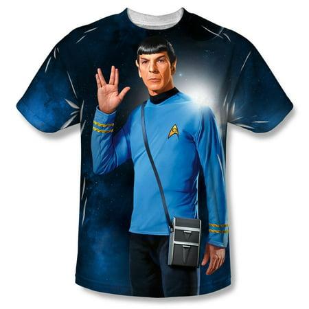 Star Trek Men's  Live Long Sublimation T-shirt White (T-rex Merchandise)