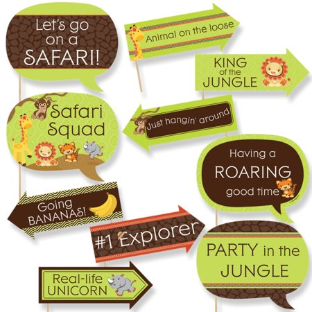 Funny Funfari - Fun Safari Jungle - Baby Shower or Birthday Party Photo Booth Props Kit - 10 Piece - Green And Brown Baby Shower Decorations