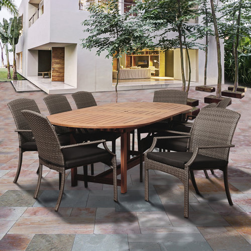 Warner 9-Piece Eucalyptus/Wicker Extendable Oval Dining Set with Grey Cushions