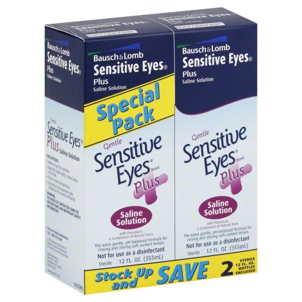 Bausch & Lomb Gentle Sensitive Eyes Plus Saline Solution Value Pack, 12 fl oz, 2 count