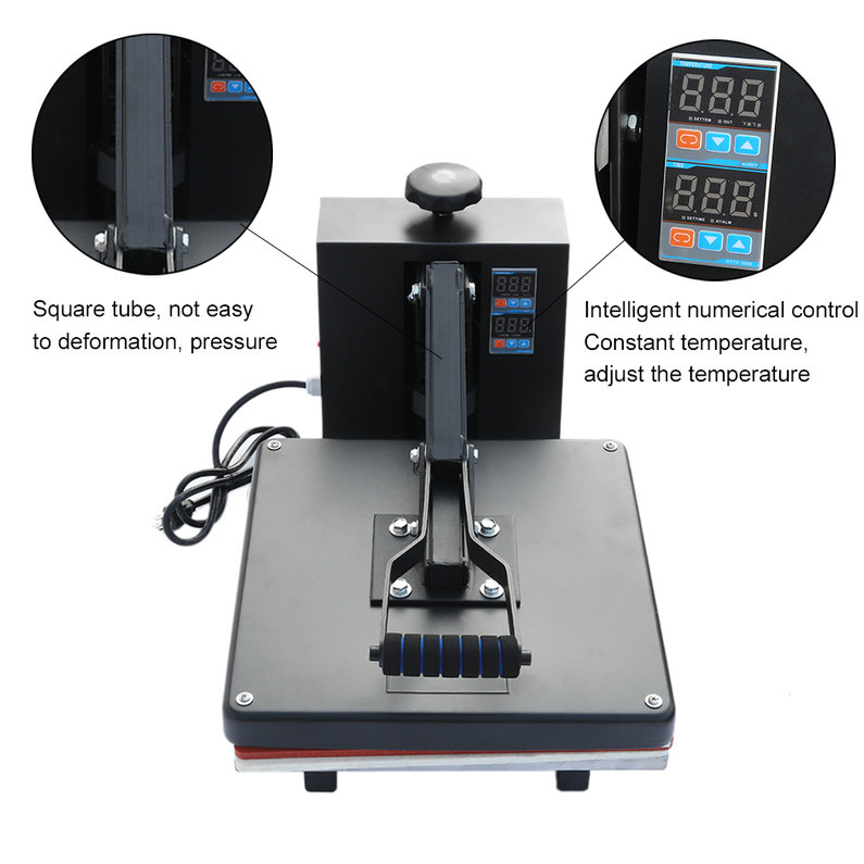 2018 New Upgraded 38*38cm High Pressure T-shirt Heat Transfer Printing Equipment Intelligent Temperature Control Heat Press Machine(Black)