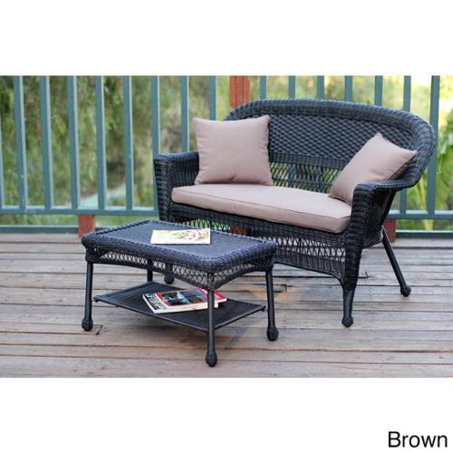 Black Wicker Loveseat and Coffee Table Set Brown