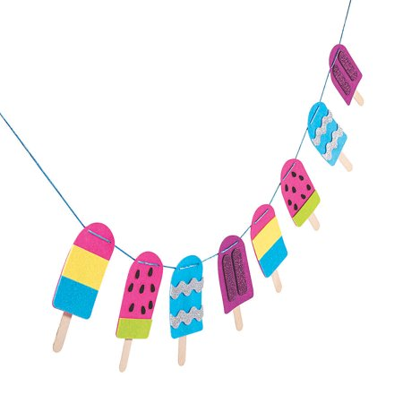 Fun Express - Felt Popsicle Garland ck for Summer - Craft Kits - Adult General Craft Kits - Home Decor - Summer - 1 Piece](Crafts For Summer)