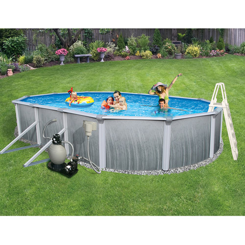 "Blue Wave Oval 30' x 15' x 52"" Deep Martinique 7"" Top Rail Metal-Walled Swimming Pool"