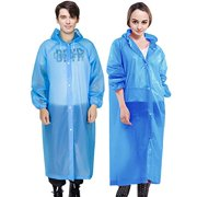 Cosowe Rain Ponchos for Adults, Family Pack Raincoats for Women Men with Drawstring Hoods and Sleeves, Waterproof Reusable Rain Jacket for Emergency, Disney, Sports, Outdoors (B-Blue)