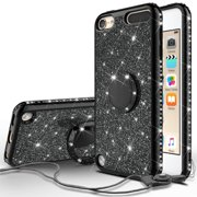 iPod Touch 6 Case,iPod 6/5 Case,Glitter Cute Phone Case Girls Kickstand,Bling Diamond Rhinestone Bumper Ring Stand Protective Pink Apple iPod Touch 5/6th Generation Case for Girl Women - Black