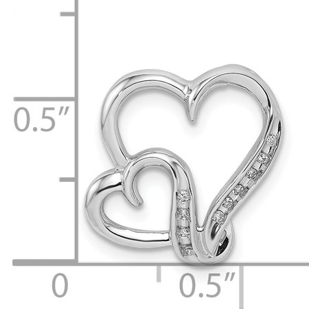925 Sterling Silver Rhodium Plated Diamond Double Heart Shaped Pendant - image 1 of 2