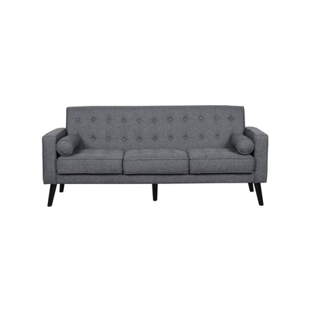 US Pride Furniture Penelope Tufted Mid-Century Sofa with Wooden Legs, Dark Gray ()