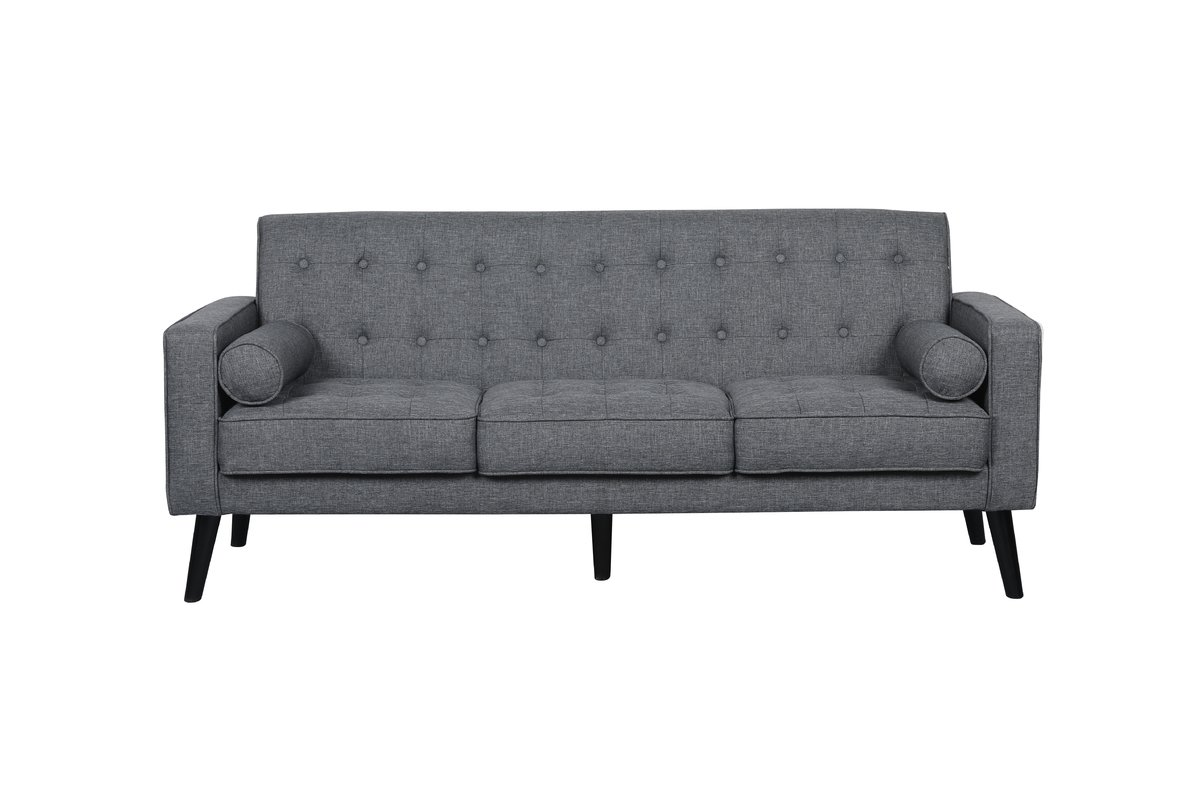 white tufted sofa. US Pride Furniture Penelope Tufted Mid-Century Sofa With Wooden Legs, Dark Gray White