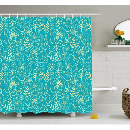 Yellow And Blue Shower Curtain Classic Floral Twig Leaves Blooms Petals Essence Flowers Design