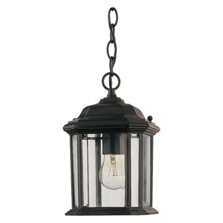 Sea Gull Kent Outdoor Hanging Light - 10H in. Black Black Large Outdoor Hanging