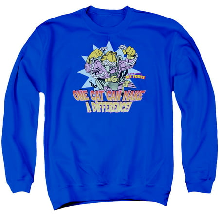 GARFIELD/MAKE A DIFFERENCE - ADULT CREWNECK SWEATSHIRT - ROYAL BLUE - 2X