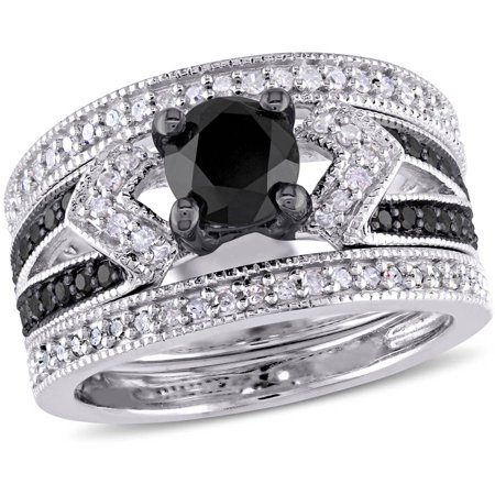 1-1/4 Carat T.W. Black and White Diamond Sterling Silver Split-Shank Three-Piece Bridal Set