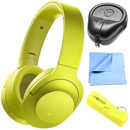 Sony MDR100 h.Ear on Wireless NC On-Ear Bluetooth Headphones w/ NFC - Lime Yellow (MDR100ABN/Y) with HardBody Sized Headphone Case, 2600mAh Portable Keychain Power Bank & Cleaning Cloth