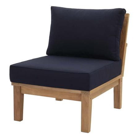 Modern Contemporary Urban Design Outdoor Patio Balcony Garden Furniture Sofa Middle Chair, Wood, Navy Blue ()