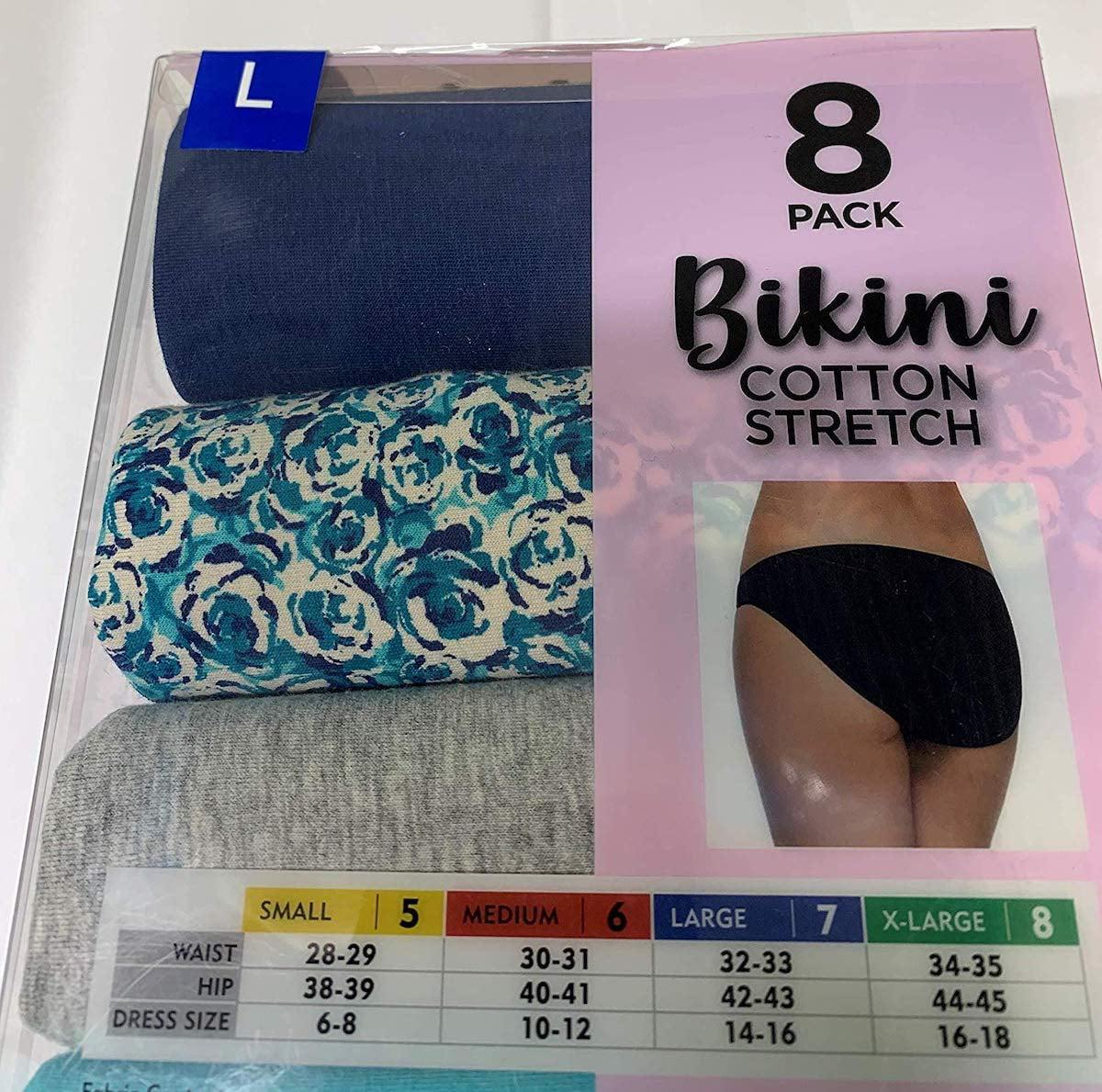 Black Bow 8 Pack Bikini Cotton Stretch Panties
