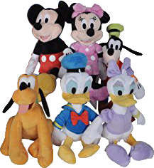 """Disney 11"""" Plush Mickey Minnie Mouse Donald Daisy Duck Goofy Pluto 6-Pack by"""