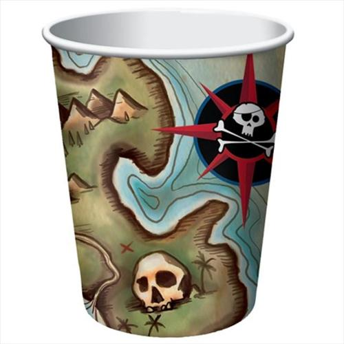 Creative Converting 375969 Pirates Map - Hot & Cold Cups, 9 Oz. - Case of 96