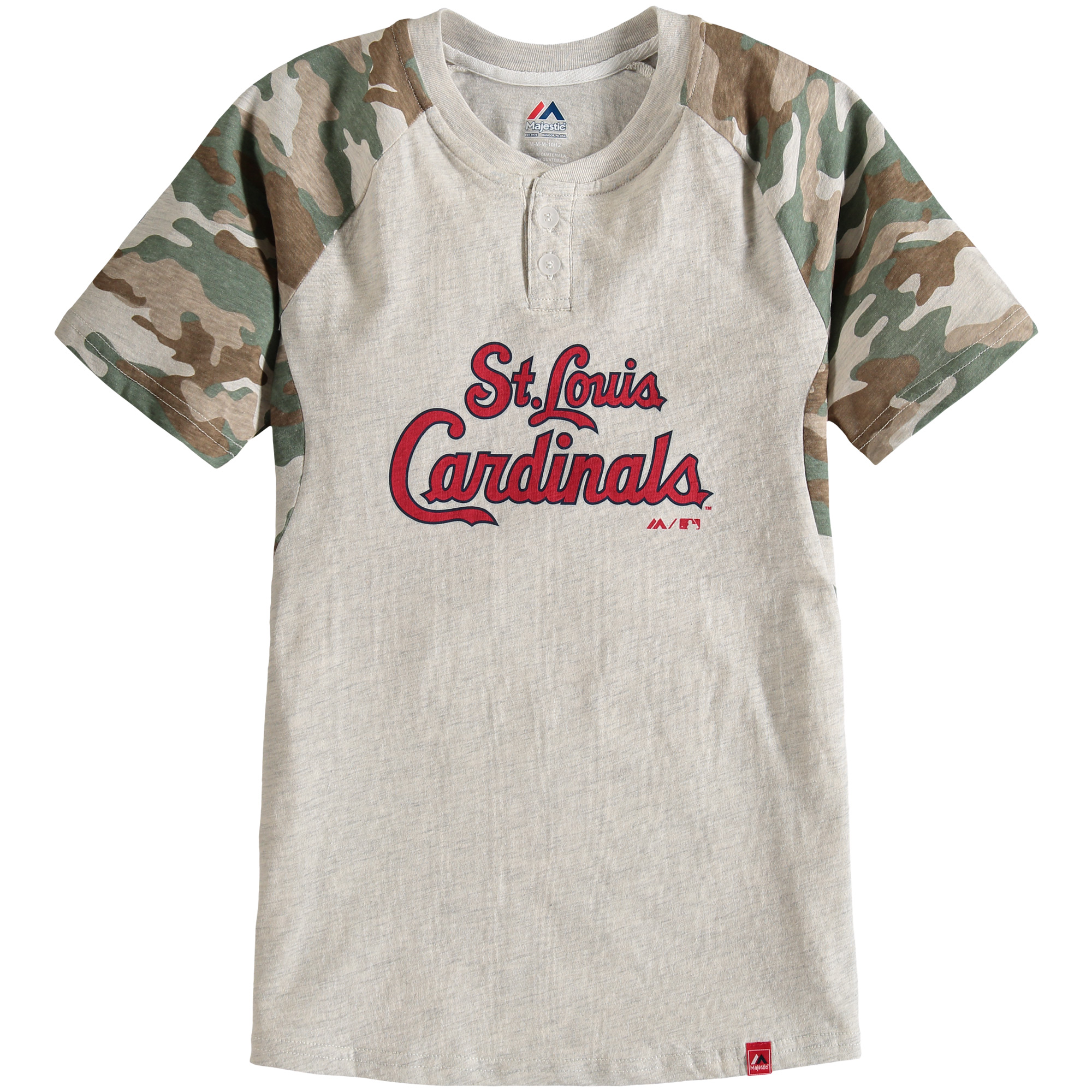 St. Louis Cardinals Majestic Youth Base Stealer Henley T-Shirt - Cream/Camo