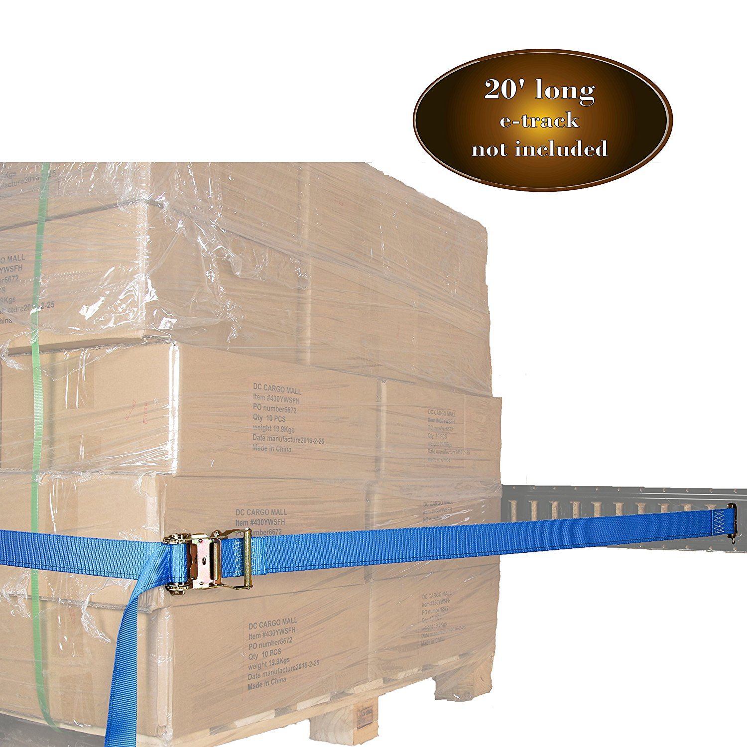"""2"""" x 20' E Track Ratcheting Strap Heavy Duty Cargo TieDown, Durable Blue Polyester Tie-Down... by DC CARGO MALL"""