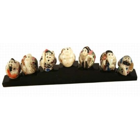Antique Ivory Finish Set Of Seven Japanese Wonders Sculptures