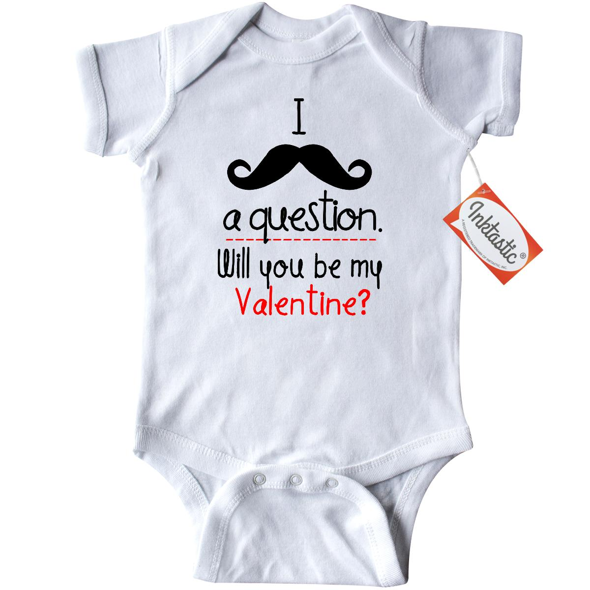 Inktastic I mustache a question. Will you be my.. Infant Creeper Baby Bodysuit humor valentine valentines moustache cute day hearts love red pink chocolate roses flowers mine gift one-piece
