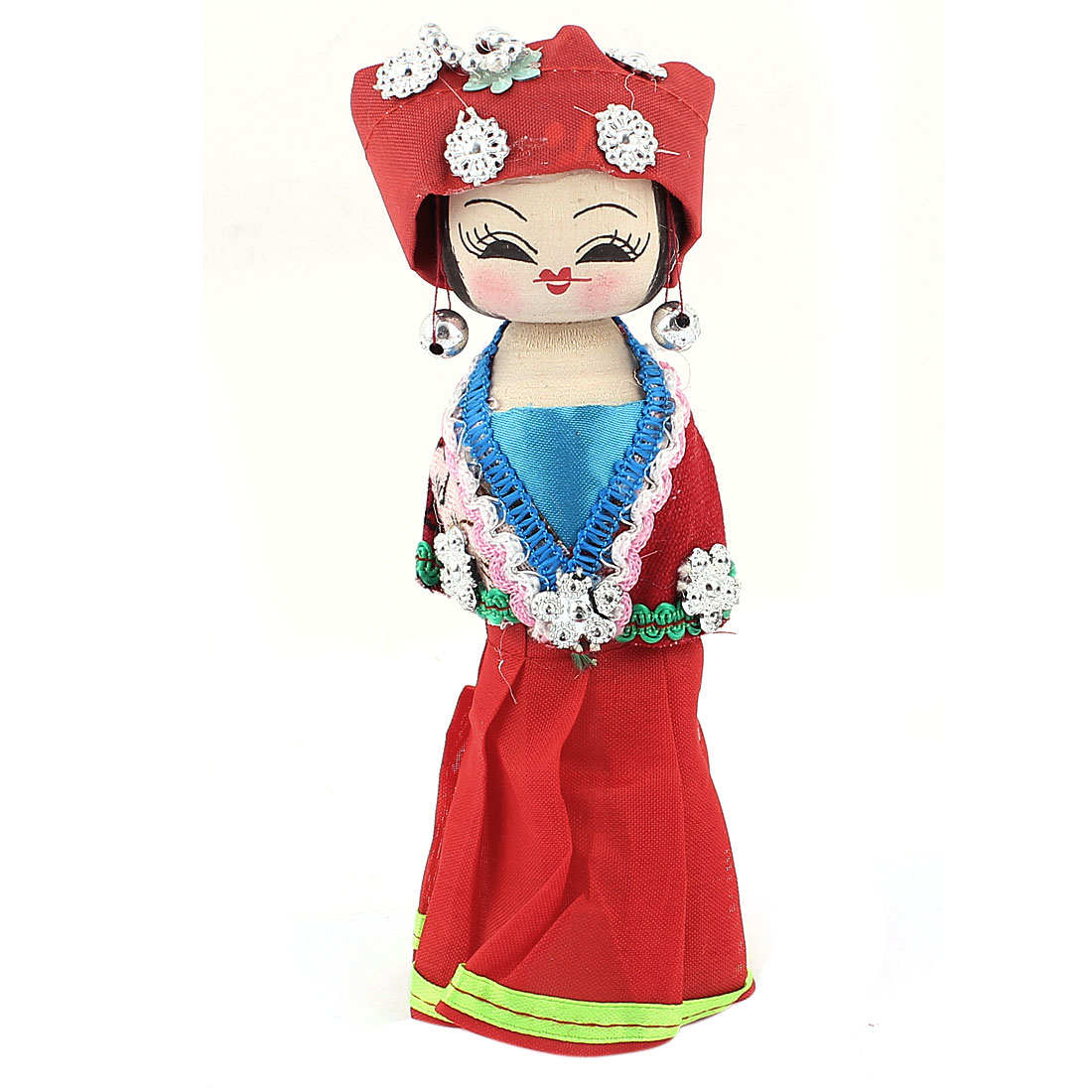 Red Headband Ornament Chinese Minority Woman Costume Wooden Doll 16cm