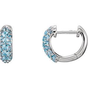 Jewels By Lux Set 14k White Gold Topaz Pair Polished Genuine Swiss Blue Topaz Hoop (Polished Genuine Swiss)